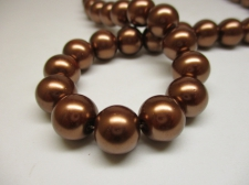 GLASS PEARLS 12MM BRONZE