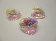 CRYSTAL HEART PENDANT 14X14MM 3PCS PINK AB