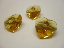 CRYSTAL HEART PENDANT 14X14MM 3PCS GOLD