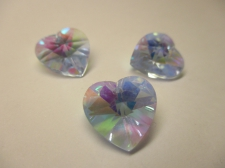 CRYSTAL HEART PENDANT 14X14MM 3PCS PURPLE AB