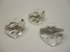 CRYSTAL HEART PENDANT 14X14MM 3PCS CLEAR