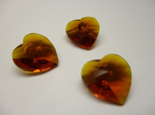 CRYSTAL HEART PENDANT 14X14MM 3PCS BROWN