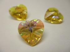 CRYSTAL HEART PENDANT 14X14MM 3PCS GOLD AB