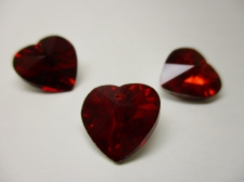 CRYSTAL HEART PENDANT 14X14MM 3PCS RED SILVER BACK