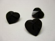 CRYSTAL HEART PENDANT 14X14MM 3PCS BLACK