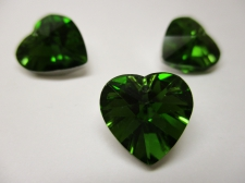 CRYSTAL HEART PENDANT 14X14MM 3PCS GREEN SILVER BACK