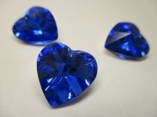CRYSTAL HEART PENDANT 14X14MM 3PCS BLUE SILVER BACK