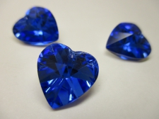 CRYSTAL HEART PENDANT 14X14MM 3PCS BLUE SILVER BACK