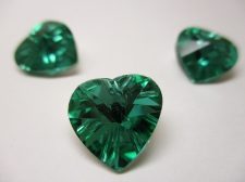 CRYSTAL HEART PENDANT 14X14MM 3PCS LT GREEN SILVER BACK