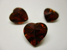 CRYSTAL HEART PENDANT 14X14MM 3PCS BROWN SILVER BACK