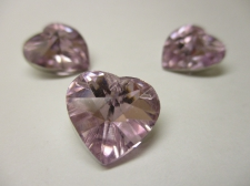 CRYSTAL HEART PENDANT 14X14MM 3PCS PINK SILVER BACK