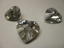 CRYSTAL HEART PENDANT 14X14MM 3PCS CLEAR SILVER BACK