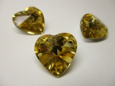 CRYSTAL HEART PENDANT 14X14MM 3PCS GOLD SILVER BACK