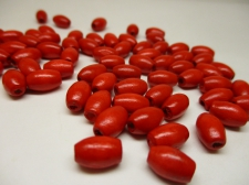 WOOD BEAD OVAL 6X9MM 125G RED