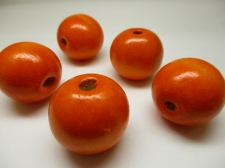 WOOD BEAD 20MM 125G ORANGE
