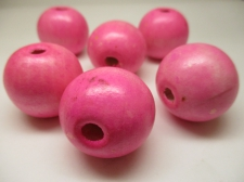 WOOD BEAD 30MM 125G PINK