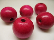 WOOD BEAD 30MM 125G CERISE