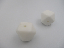 Silicone Beads 17x17mm 2pcs White