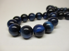 Tiger Eye 8mm +/-48pcs Blue