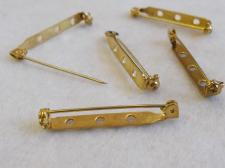 Brooch Back 38mm Sfty/Brass 25pcs