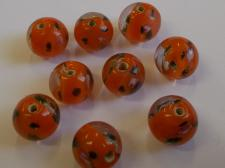LAMPWORK RND FLWR/ORANGE 10PCS