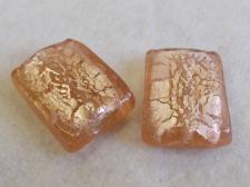 Foil Glass35x25mm Rect Lt Pink+/-6pcs