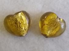 Foil Glass 24x26mm Heart Gold+/-10pcs