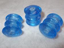 Chunky Glass 23x25mm +/-6pcs Blue