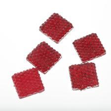 RHINESTONE 14MM SQR RED 50PC