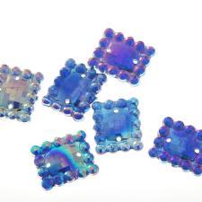 FLOWER PATERN SQR BLUE 100P 16x13MM